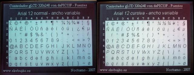 Fuentes TrueType para gLCD