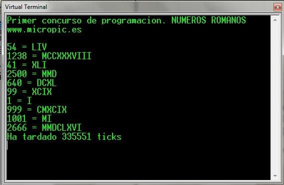 Primer concurso de programación MicroPIC: Números Romanos
